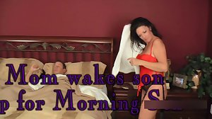 Mom wakes up son for morning sex