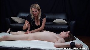 MILF handjob proves sons cock is bigger..